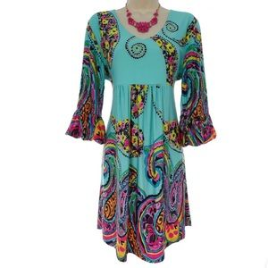 Size Large NWT▪️FLORAL-PAISLEY BELL SLEEVE DRESS